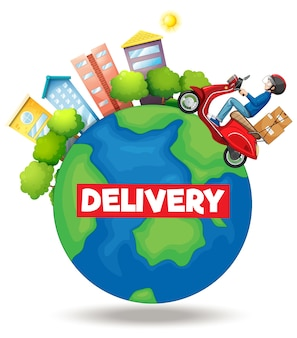 Delivery logo with bike man or courier riding on the earth