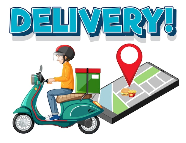 Delivery logo with bike man or courier