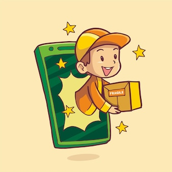 Доставщик появляется с мобильного телефона, доставляя заказ посылки