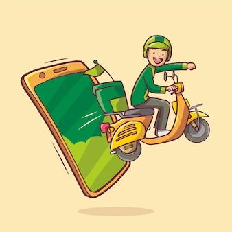 Доставщик появляется с мобильного телефона, отправляя заказ на мотоцикле