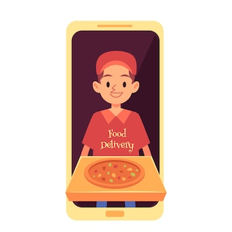 Delivery man appearing from phone screen and holding pizza box cartoon style