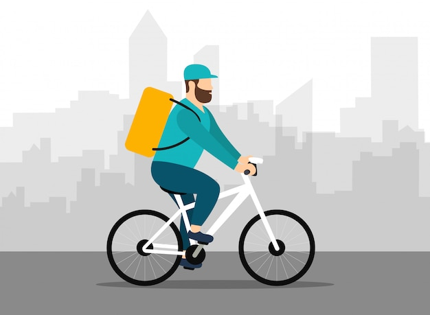 Delivery man on a on bicycle. express delivery. city landscape. flat style.