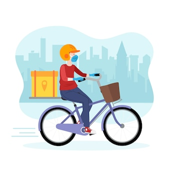 Delivery man on bike