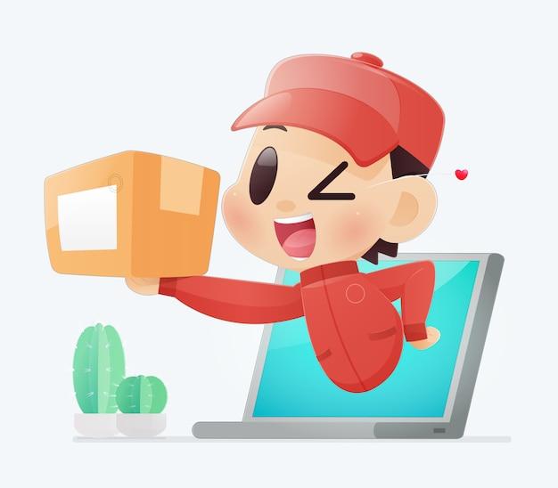 配達人は、ノート、成功した配信、イラスト、オンラインショッピングとサービスのコンセプトからお客様に商品をもたらします。