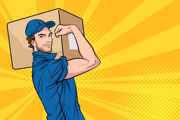 어깨에 큰 무거운 판지 상자를 들고 배달 남자 우리는 그것을 할 수 있습니다 레트로 팝 아트 만화 스타일