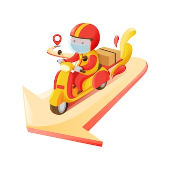 Delivery man carrying box online smartphone order to destination from pick up spot riding motorcycle in red and yellow color scheme  illustration