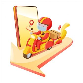 배달 남자 운반 상자 온라인 스마트 폰 주문 빨간색과 노란색 색 구성표 픽업 스팟 오토바이에서 목적지로 주문