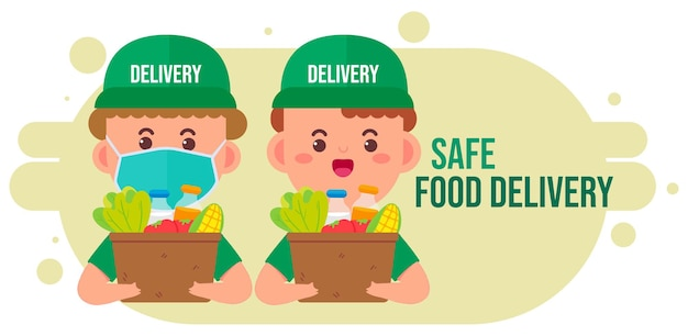 Delivery man carrying package box of grocery food and drink from store cartoon art illustration
