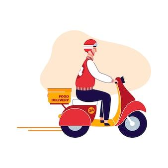 Доставщик персонаж едет на мотоцикле