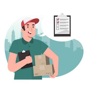 Delivery man concept checklist for banner, poster, website, etc.