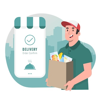 Delivery man concept shipping