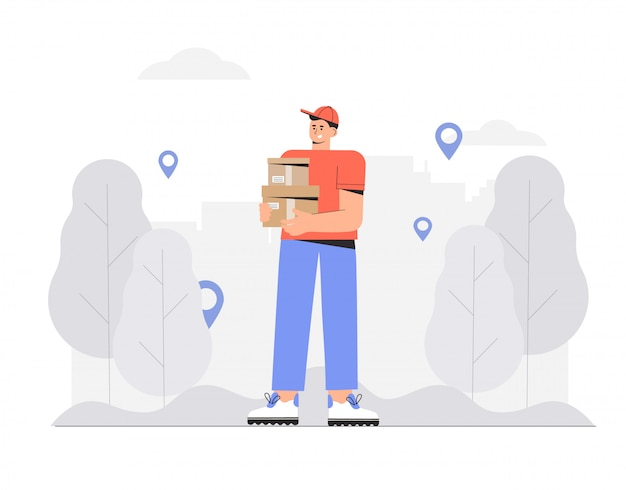 Delivery man, courier holding order box.