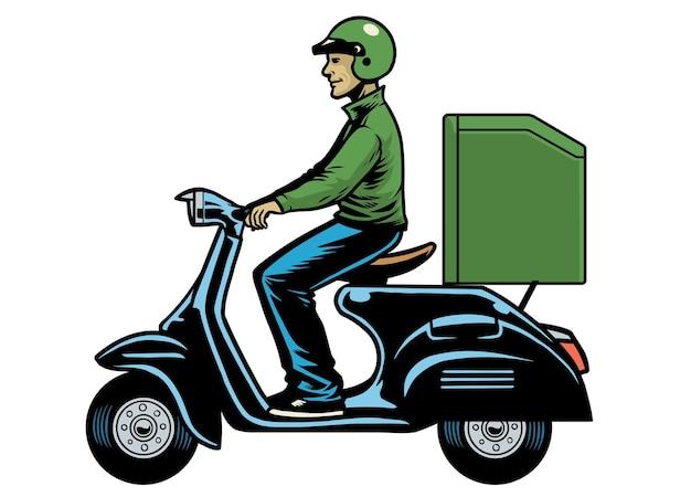 古いスクーターに乗って配達人宅配便