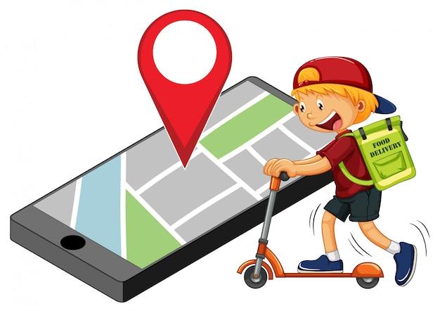 Uomo di consegna o corriere in sella a uno scooter con il perno sul display dello smartphone