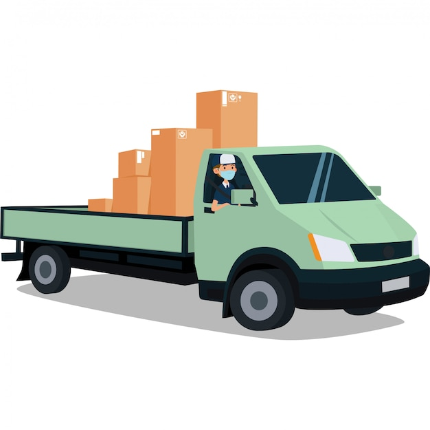 A delivery man delivering package with pickup truck illustration