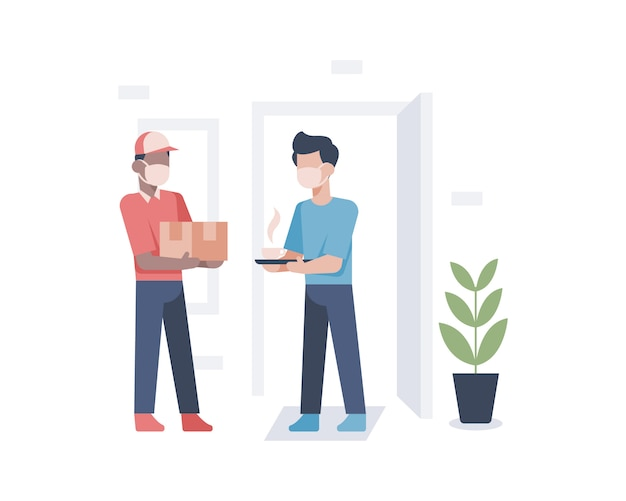 A delivery man delivery a box package to customer house and presented with hot coffee with home owner as appreciation and gift illustration