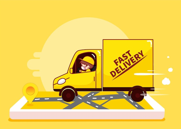Delivery man driving on the way