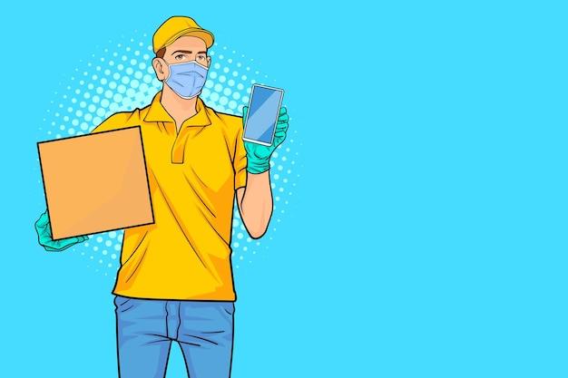 レトロなヴィンテージポップアートコミックスタイルで携帯電話を保持している黄色の帽子の配達人従業員