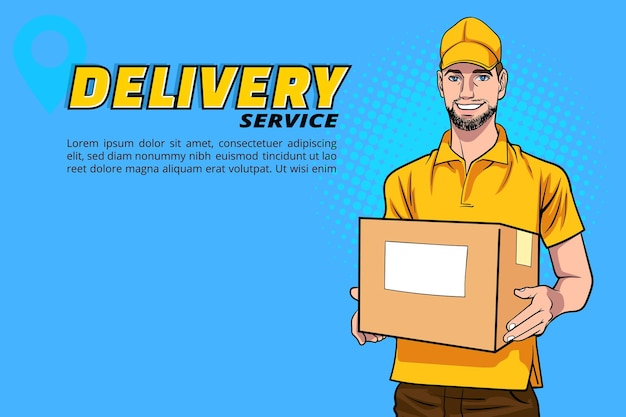 Delivery man employee with a big box in retro vintage pop art comic style