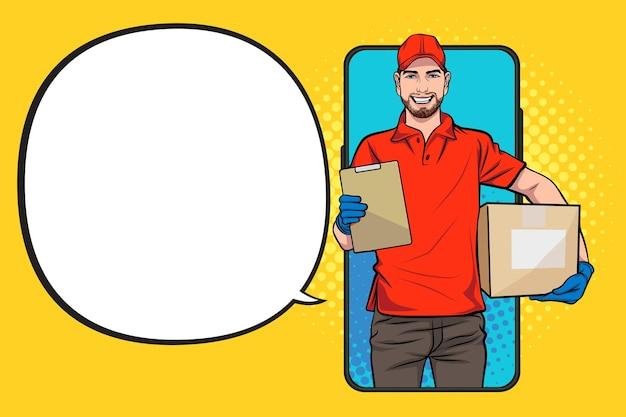 Сотрудник курьера с большой коробкой выскакивает из смартфона в ретро винтажном стиле поп-арт в стиле комиксов