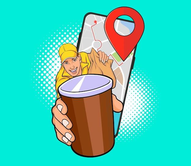커피 온라인 개념 팝 아트 만화 스타일의 컵 배달 남자 직원