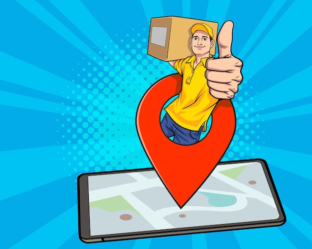 Delivery man employee with navigation thump up out from smartphone in retro pop art comic style