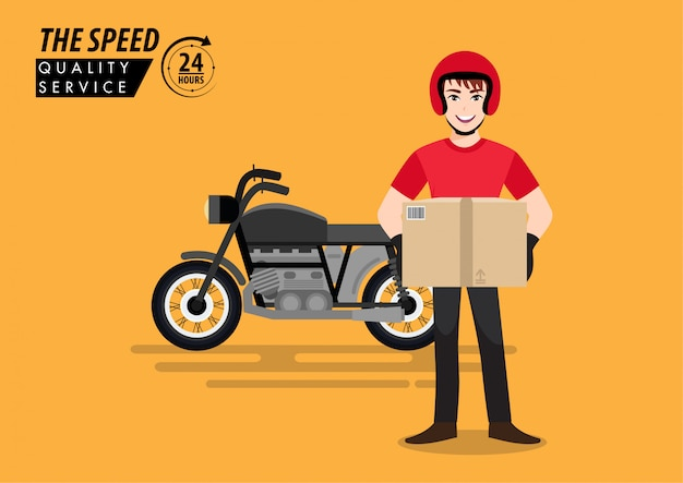Delivery man. the guy holding the product box and the bike deliver the order with cartoon character design. flat   illustration.