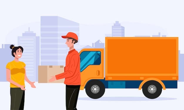 Доставщик, обрабатывающий коробку пакета посылки к клиенту.