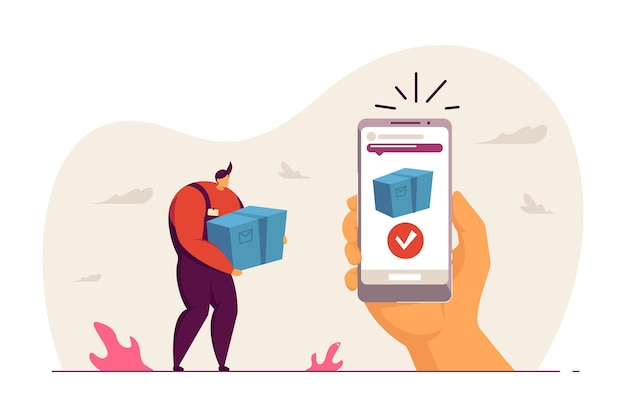 Delivery man holding box. phone in hand with notification about package arriving flat vector illustration. delivery service or application concept for banner, website design or landing web page