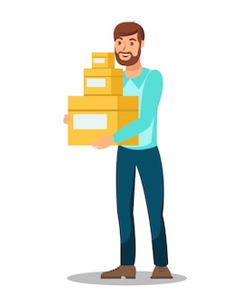Delivery man holding boxes  illustration