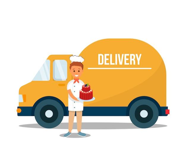 Доставка человек, держащий фрукты сладкий торт возле грузовика.