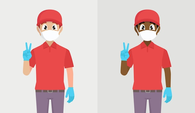 안전 마스크와 장갑 평화 기호를 보여주는 배달 남자
