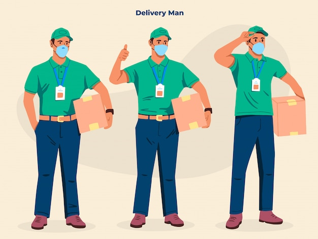 Delivery man isolated  illustration