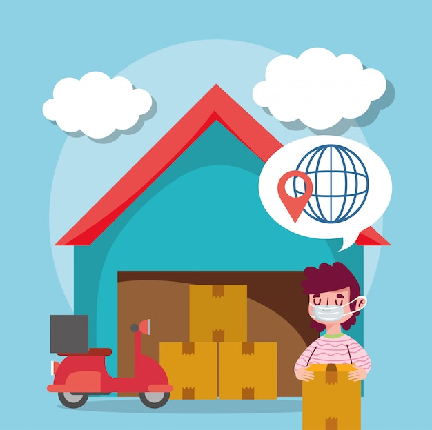 Delivery man logistic warehouse boxes transport ecommerce online shopping covid 19 coronavirus