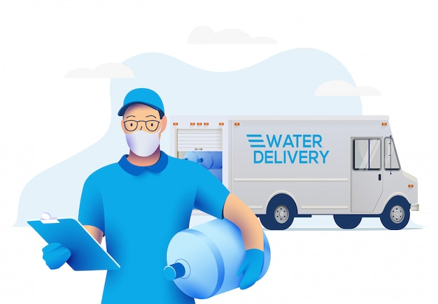 Delivery man in medical protective mask holding a big bottle with clean water and delivery truck on background.