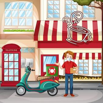 コーヒーショップのそばに立つ配達人または宅配便