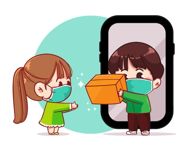 Delivery man parcel handover to customer online delivery service,smartphone cartoon art illustration