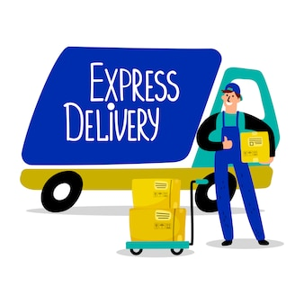 Delivery man and parcels