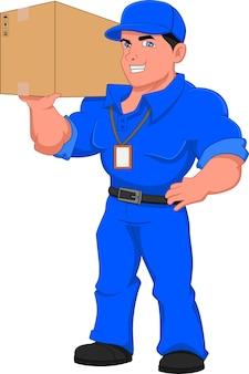 Доставщик позирует с коробкой
