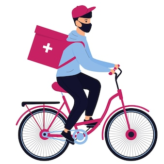 Delivery man in a protective mask delivers medicine by bicycle
