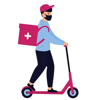 Delivery man in a protective mask delivers medicine by electric scooter
