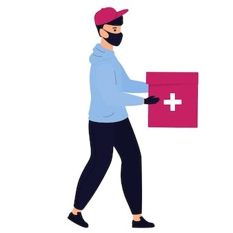 Delivery man in a protective mask delivers medicine by foot