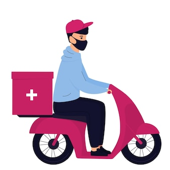 Delivery man in a protective mask delivers medicine by motorbike