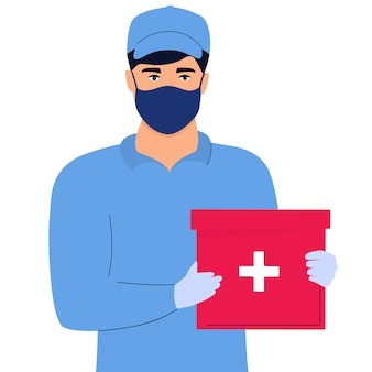 Delivery man in a protective mask delivers medicine