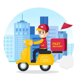Delivery man ride motorcycle service.