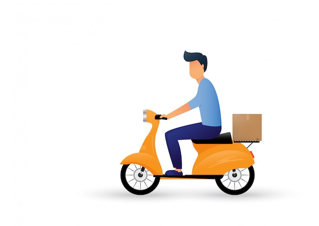 Delivery man ride scooter motorcycle cartoon. express delivery.   illustration