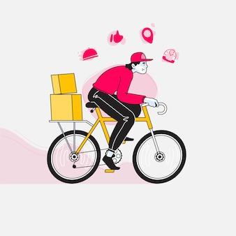 自転車に乗って配達人