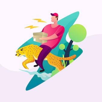 Delivery man riding cheetah illustration