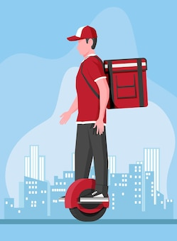 Delivery man riding monowheel with the box