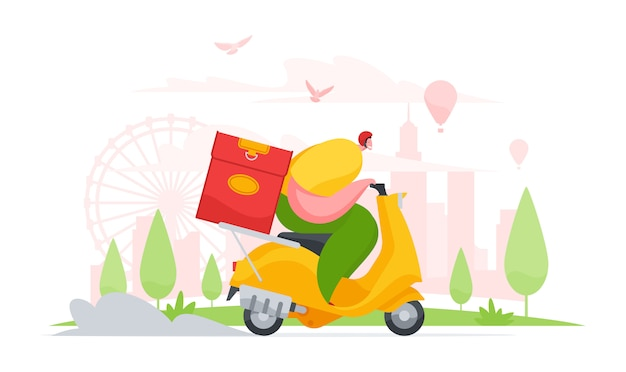 Delivery man riding motor scooter